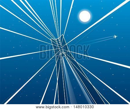 Cable-stayed bridge, pillar goes up, night sky, flying aircraft, white lines on blue background, vector design art
