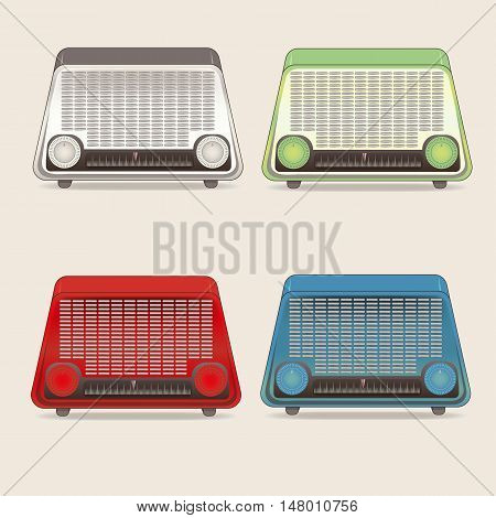 icons set radio retro. four colors beige green blue red. the style of the sixties.