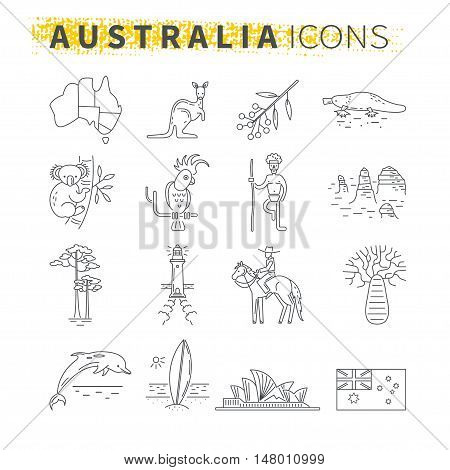 Set of thin line icons . Australian travel theme. Australian landmarks and emblems