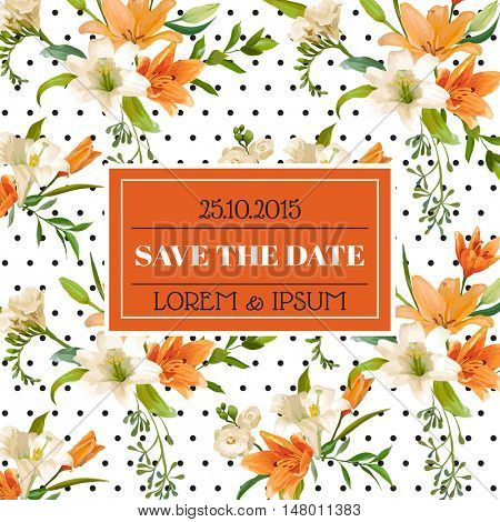 Save the Date - Wedding Invitation or Congratulation Card - Vintage Lily Floral Theme - in Vector