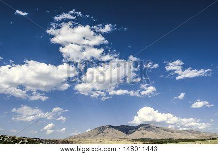 Mount Ara ler and mountain village on autumn sunny  day