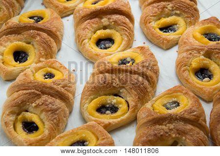 Danish pastry with blueberries jam and custard cream