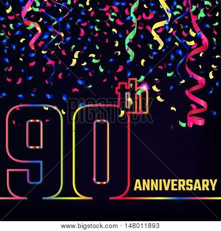 Vector Illustration of Anniversary 90th Outline for Design, Website, Background, Banner. Jubilee silhouette Element Template for festive greeting card. Shiny colorful Confetti celebration