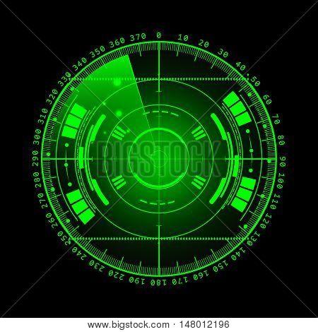Radar screen. illustration for your design. Technology background. Futuristic user interface. Radar display with scanning. HUD.