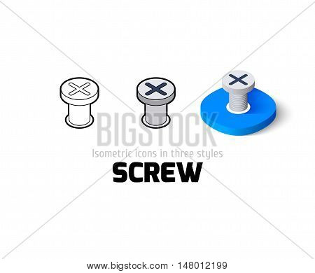 Screw icon, vector symbol in flat, outline and isometric style