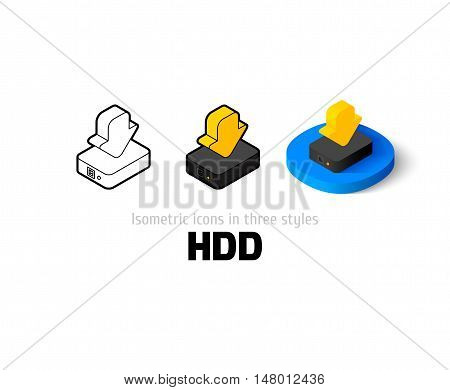 HDD icon, vector symbol in flat, outline and isometric style