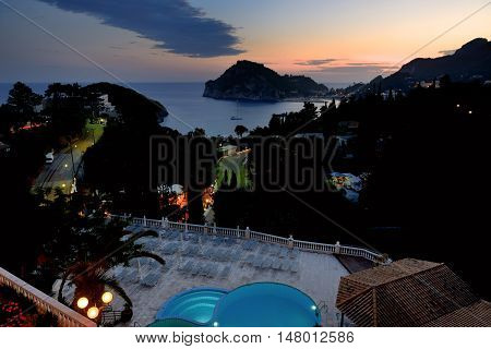 The night view on a bay and beach in Paleokastritsa Corfu Greece
