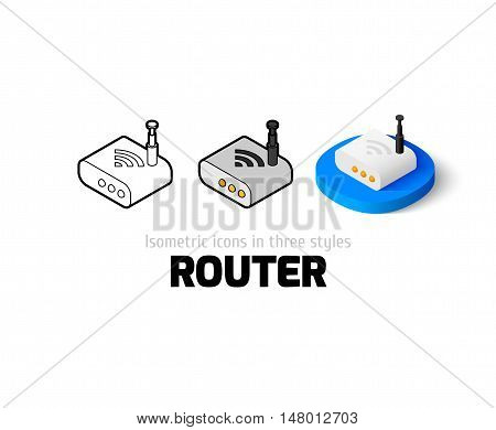 Router icon, vector symbol in flat, outline and isometric style