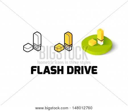 Flash drive icon, vector symbol in flat, outline and isometric style