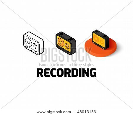 Recording icon, vector symbol in flat, outline and isometric style