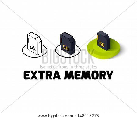 Extra memory icon, vector symbol in flat, outline and isometric style