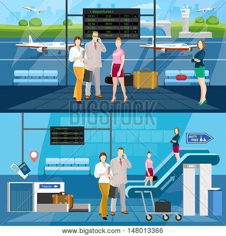 Airport interior banner international airlines people in waiting room airport vector illustration