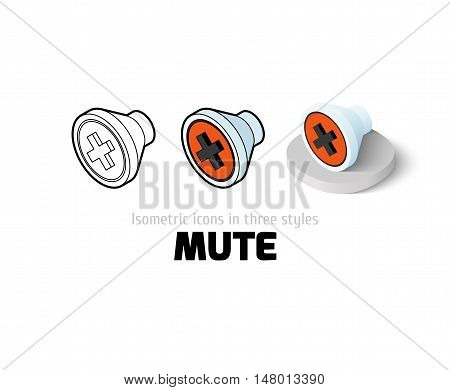 Mute icon, vector symbol in flat, outline and isometric style