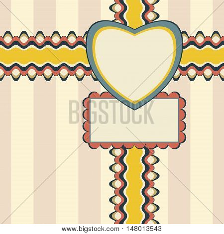 Congratulatory design with ribbon, heart-shaped and rectangular greeting card on elegant striped background. Seamless vector illustration in pleasant retro color palette