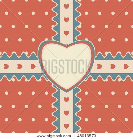 Gift design with stitched ribbon and heart-shaped greeting card on cute polka dot background. Seamless vector illustration in pleasant retro color palette