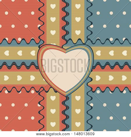 Romantic gift design with two stitched ribbons and heart-shaped greeting card on cute polka dot background. Seamless vector illustration in elegant retro color palette