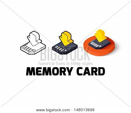 Memory card icon, vector symbol in flat, outline and isometric style