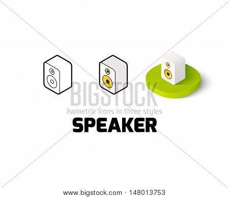 Speaker icon, vector symbol in flat, outline and isometric style