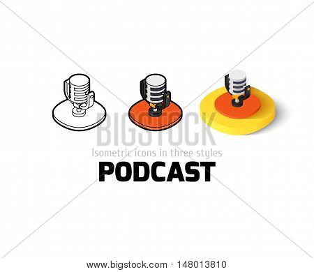 Podcast icon, vector symbol in flat, outline and isometric style