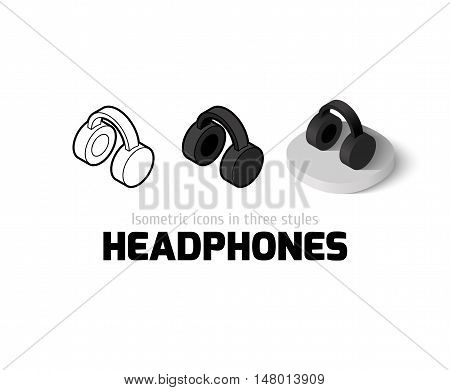 Headphones icon, vector symbol in flat, outline and isometric style