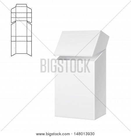 Vector Illustration of Diecut Craft Box for Design, Website, Background, Banner. Retail Folding package Template. Fold pack for cigarettes with dieline for your brand on it