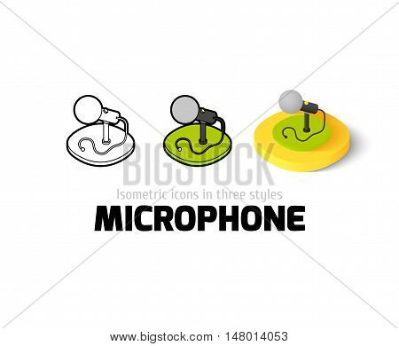 Microphone icon, vector symbol in flat, outline and isometric style