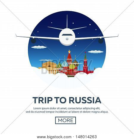 Trip To Russia, Moscow. Tourism. Travelling Illustration. Modern Flat Design. Travel By Airplane, Va