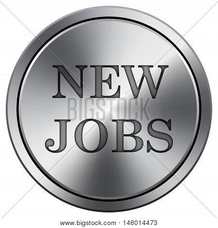 New Jobs Icon. Round Icon Imitating Metal.