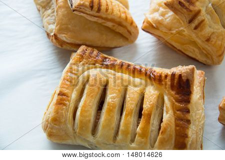 Close view of puff pastry with filling