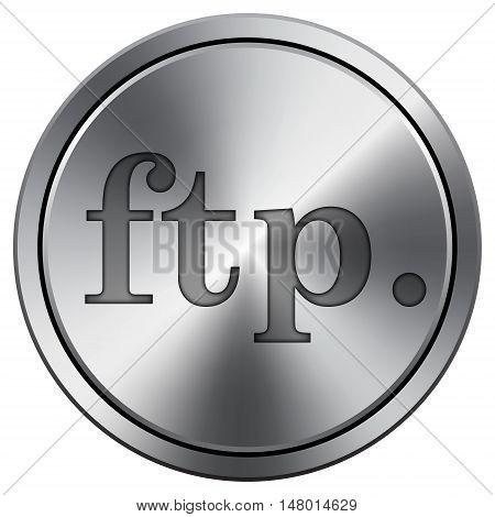Ftp. Icon. Round Icon Imitating Metal.