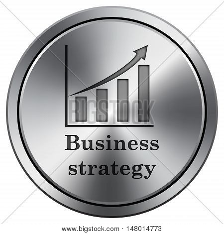 Business Strategy Icon. Round Icon Imitating Metal.