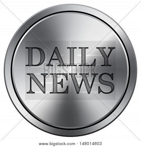 Daily News Icon. Round Icon Imitating Metal.