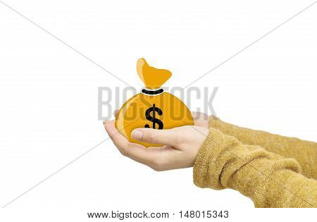 Closeup a brown money bag in us dollar currency on woman hand isolated on white background in business concept with clipping path