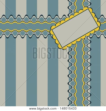 Gift design with ribbon and decorated rectangular greeting card on elegant striped background. Seamless vector illustration in noble retro color palette