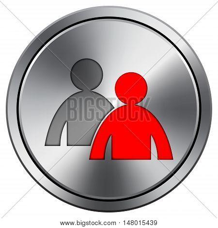 Mentoring Icon. Round Icon Imitating Metal.