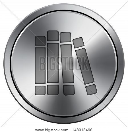 Books Library Icon. Round Icon Imitating Metal.