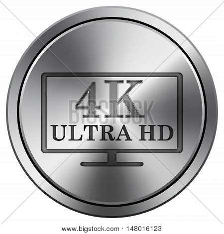 4K Ultra Hd Icon. Round Icon Imitating Metal.