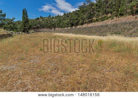 The mountain top stadium at Delphi,Central Greece
