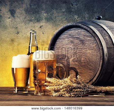 Still life with glasses of beer and barrel tinted in yellow blue
