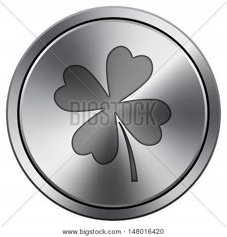 Clover Icon. Round Icon Imitating Metal.