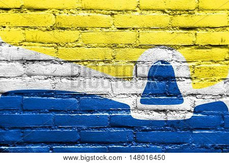 Flag Of San Luis Obispo, California, Usa, Painted On Brick Wall