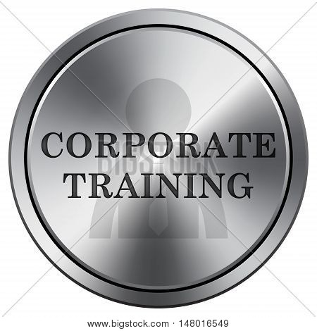 Corporate Training Icon. Round Icon Imitating Metal.