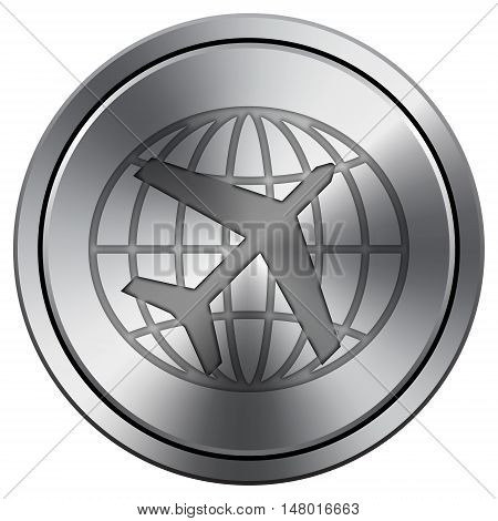 Travel Icon. Round Icon Imitating Metal.