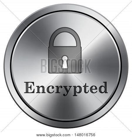 Encrypted Icon. Round Icon Imitating Metal.