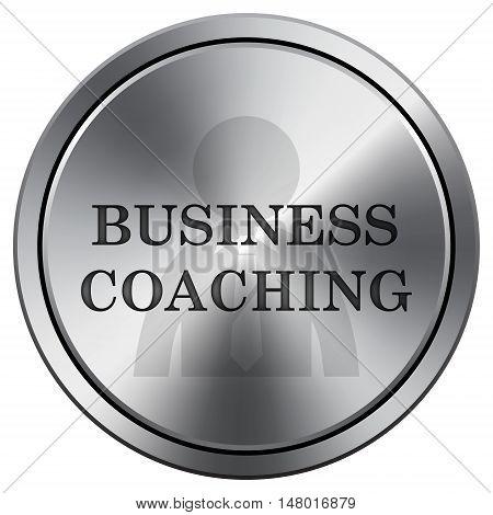 Business Coaching Icon. Round Icon Imitating Metal.