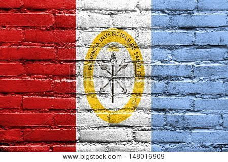 Flag Of Santa Fe Province, Argentina, Painted On Brick Wall