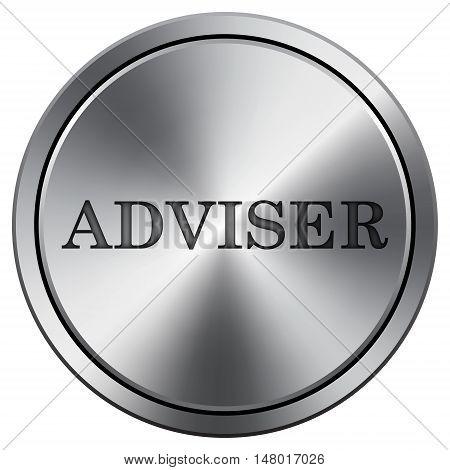 Adviser Icon. Round Icon Imitating Metal.