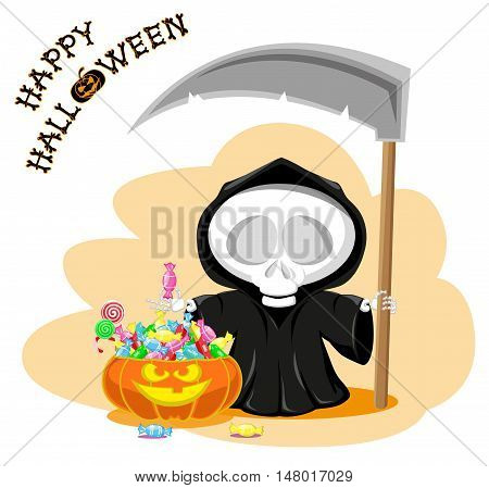 Funny little death with a large scythe pumpkin and candy with title Happy Halloween isolated on white background. Cartoon style. Vector illustration