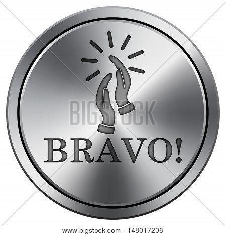 Bravo Icon. Round Icon Imitating Metal.