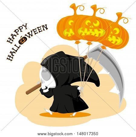 Funny little death with a large scythe air balloon and title Happy Halloween isolated on white background. Cartoon style. Vector illustration